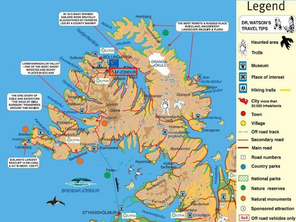 safj rdur Peninsula Tourist Map Iacutesafjoumlrdur Iceland – Tourist Map Of Iceland
