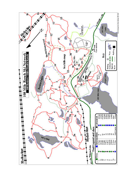 108 Mile House Ski Trail Map