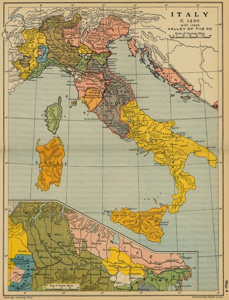 1490 Italy Historical Map