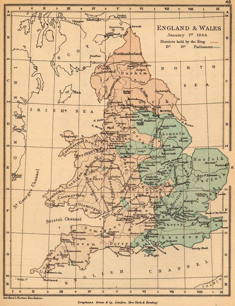 Map Of England Political.1644 England And Wales Political Map Britain Mappery