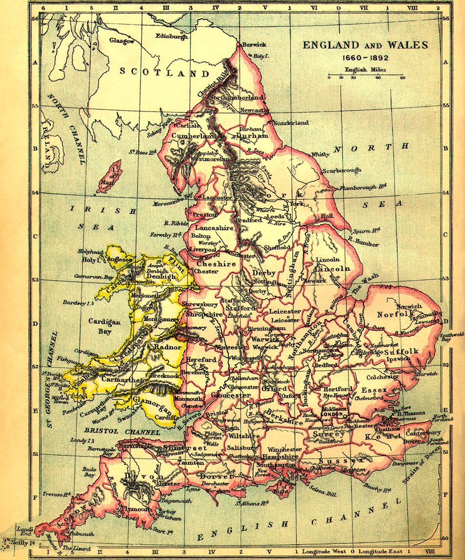 Map Of Uk 1900.1660 1892 England And Wales Map Britain Mappery