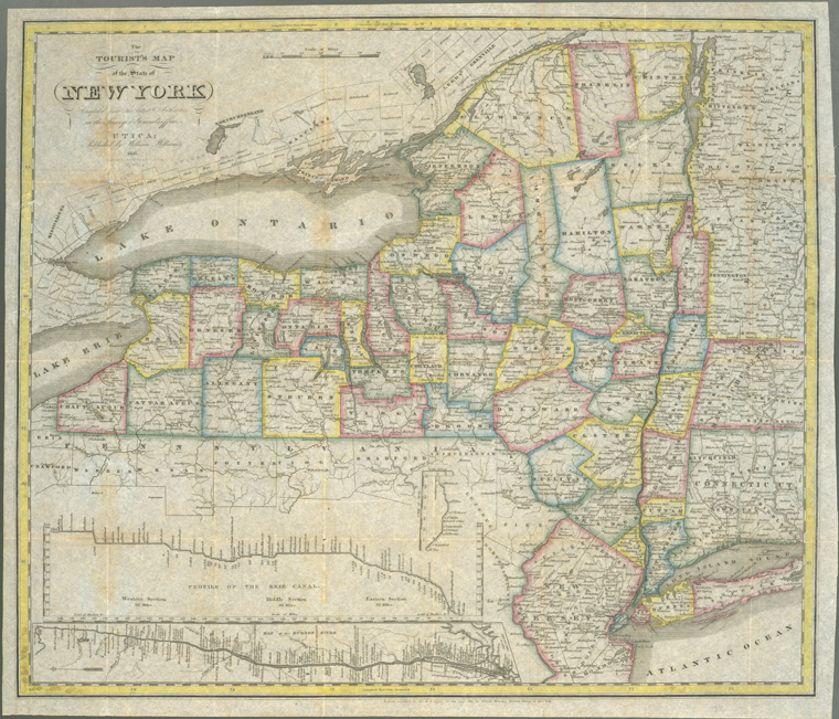 new york state map. 1831 Antique New York State