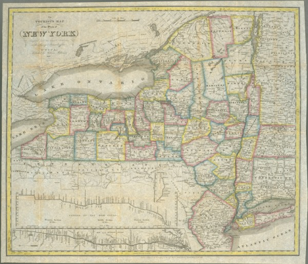 map of new york state. Antique New York State map
