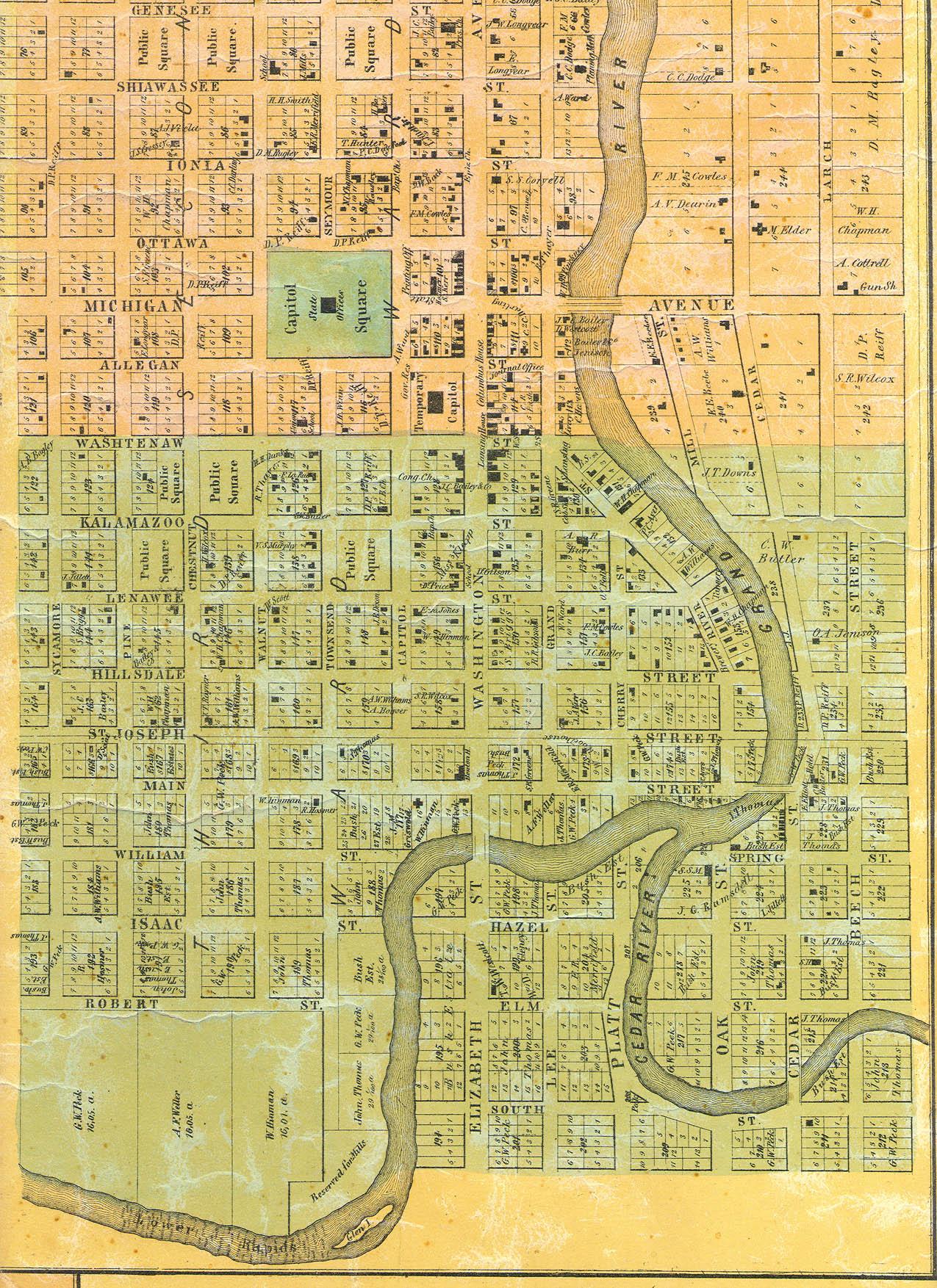 1859 Lansing Lower Town Bus District Map - Lansing Michigan • mappery