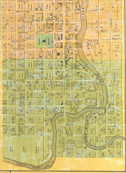 1859 Lansing Lower Town Bus District Map Lansing Michigan mappery