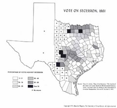 1861 Texas Vote Sucession Historical Map