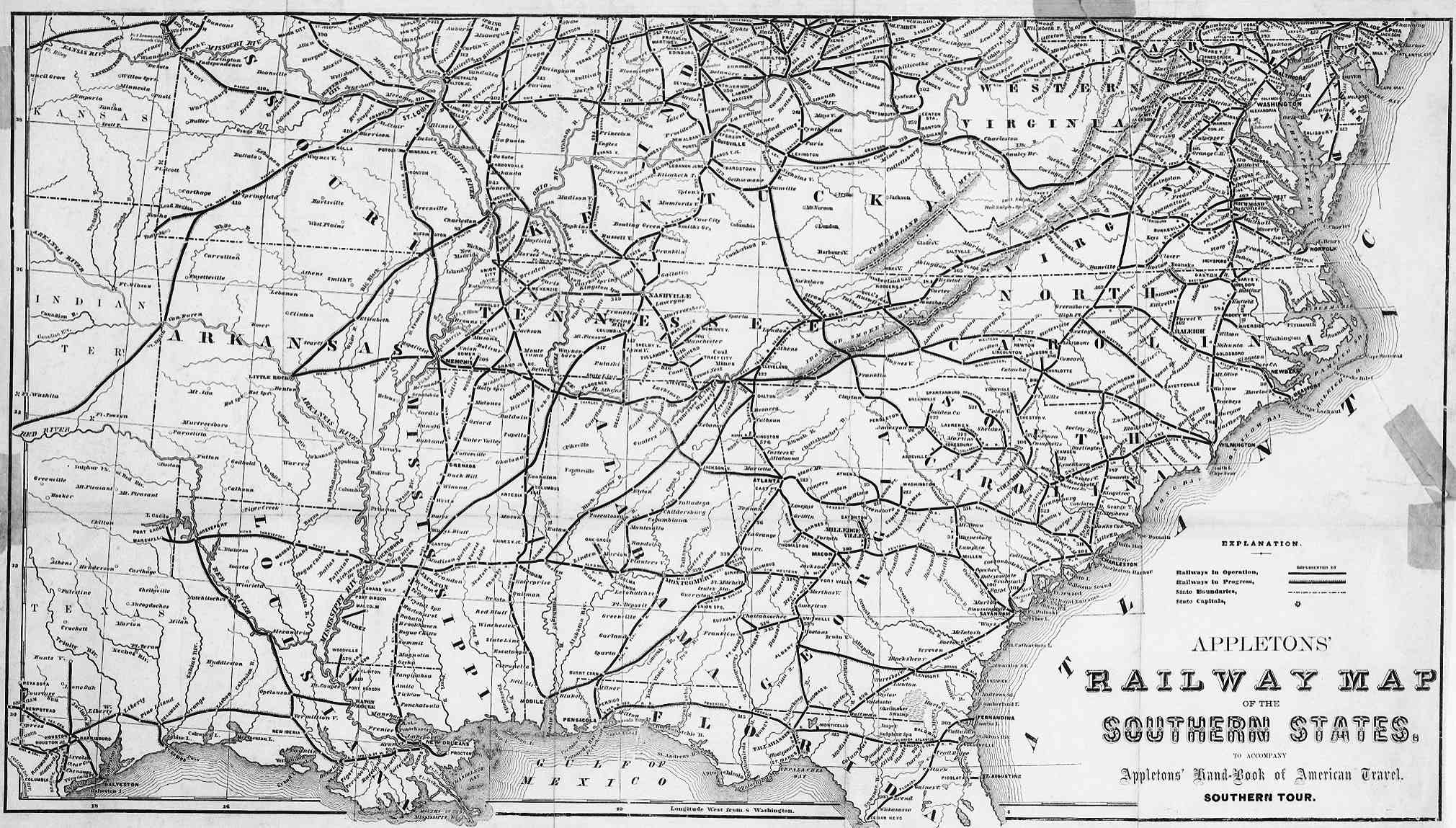 Southern US States Railway Map US Mappery - Map of southern us