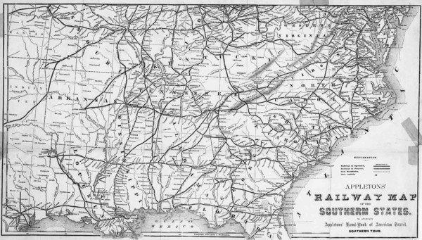 Southern US States Railway Map US Mappery - Map of the southern us
