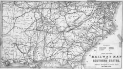 1865 Southern US States Railway Map