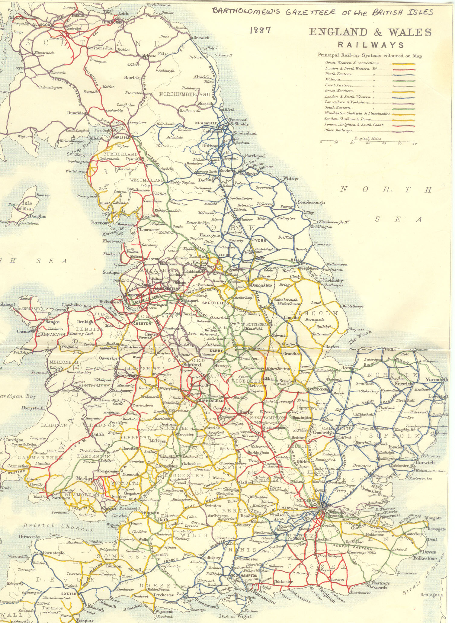 1887 prinicipal railways in england and wales map england mappery