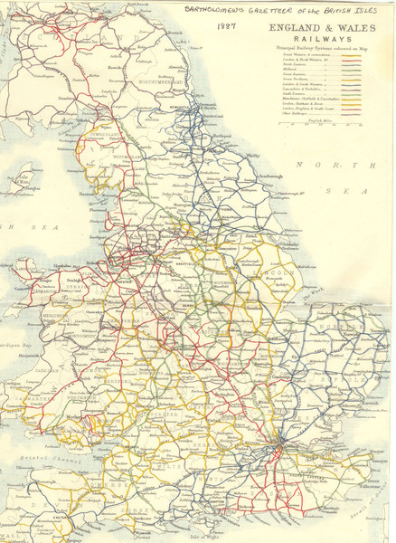 1887 - Prinicipal Railways in England and Wales Map
