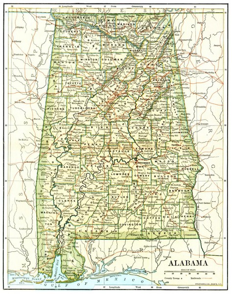 1891 Alabama Map