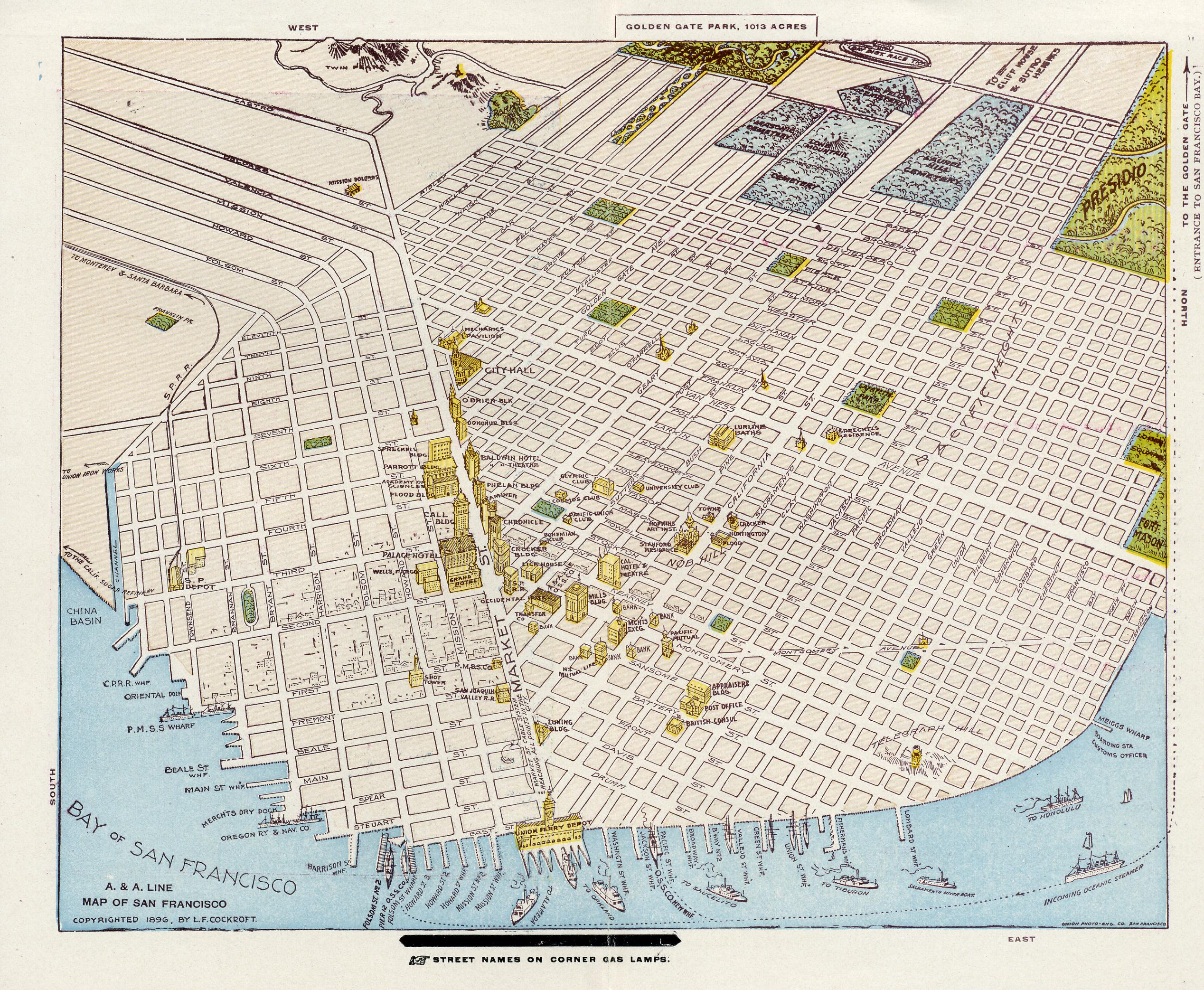 San Francisco Perspective Map San Francisco CA US  Mappery - 1896 map of us