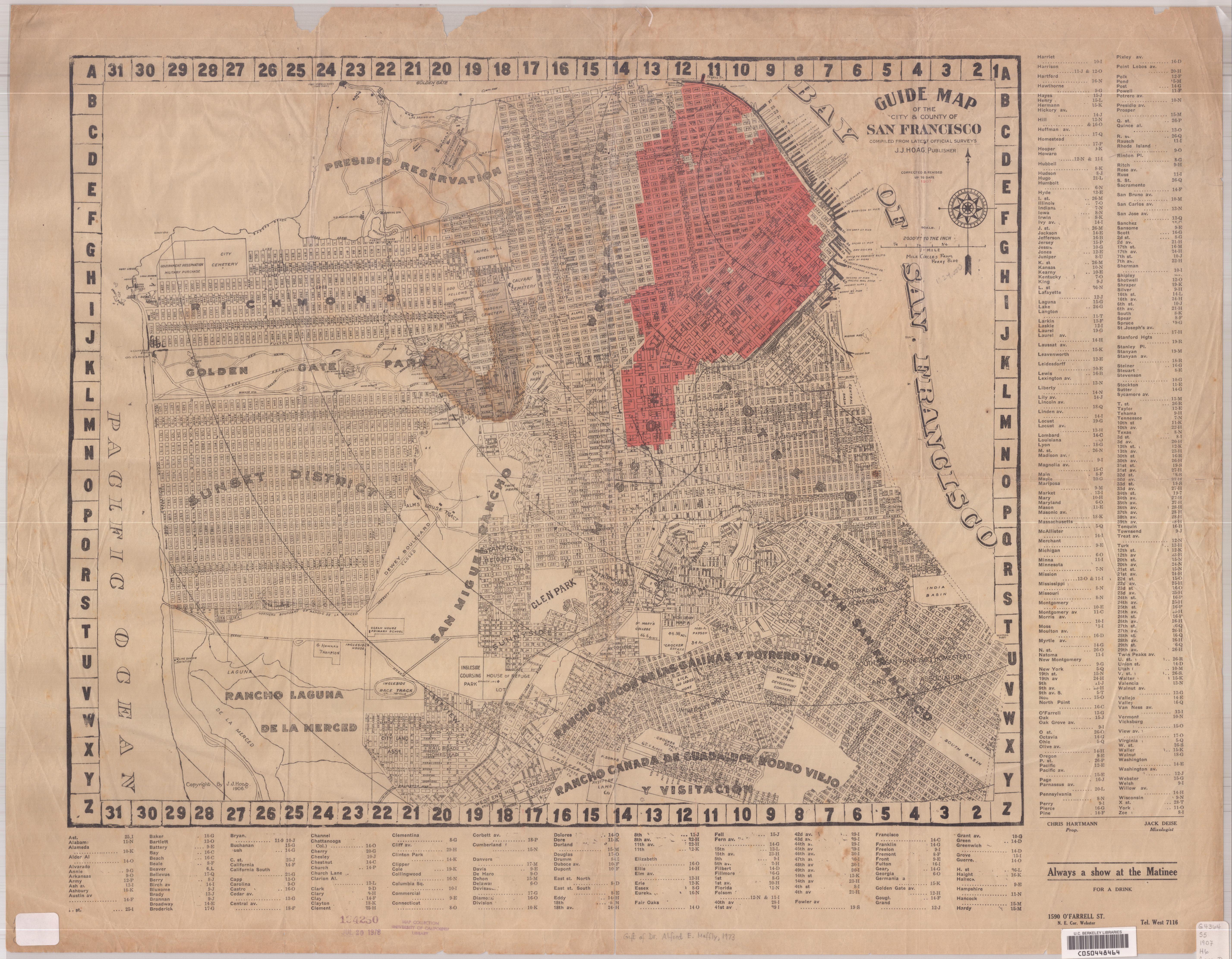 1907 San Francisco Earthquake Map San Francisco Ca Us Mappery