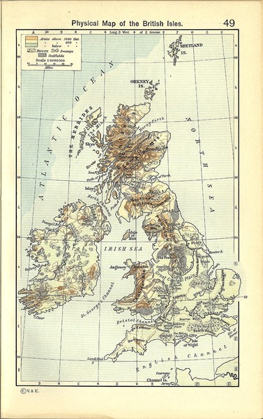1911 British Isles Physical Map