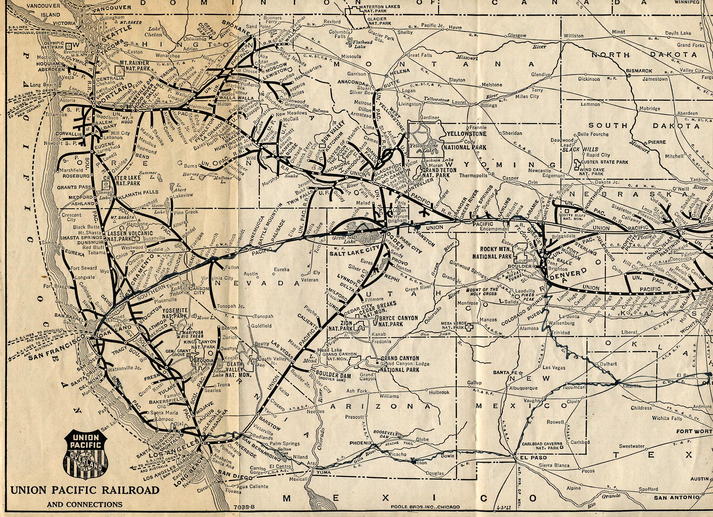 Union Pacific Railroad Map Part US Mappery - Map of us railways