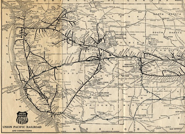1925 Union Pacific Railroad Map Part 1 Us Mappery - Railroad-map-of-the-us