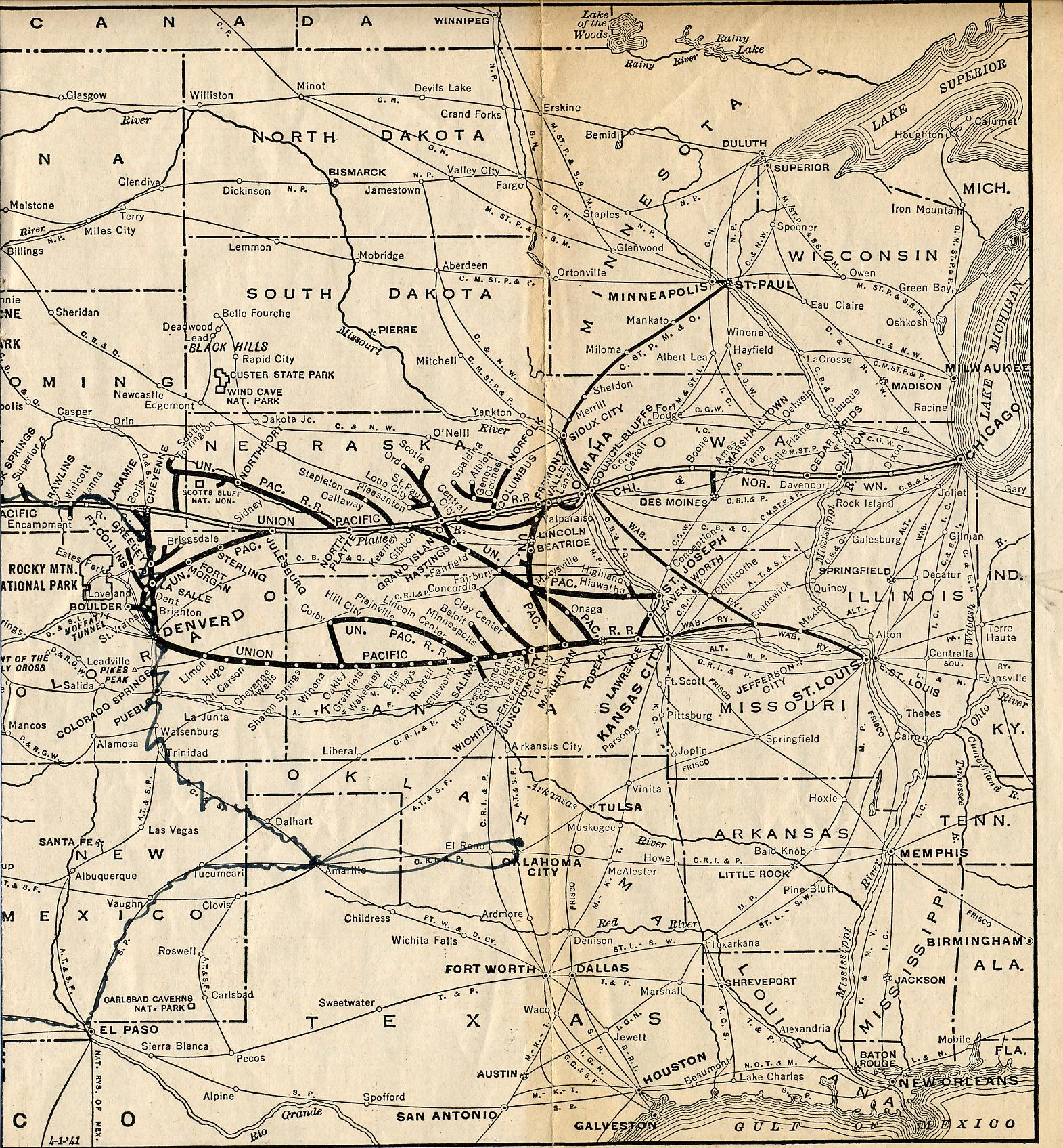 1925 Union Pacific Railroad Map Part 2 US Mappery - Des Moines Iowa On Us Map