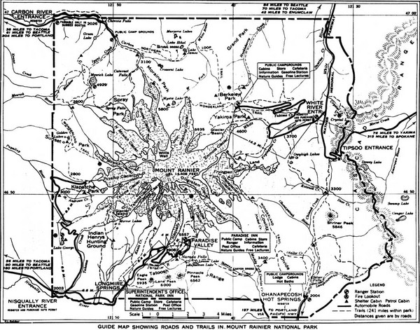 1928 Mount Rainier National Park Map