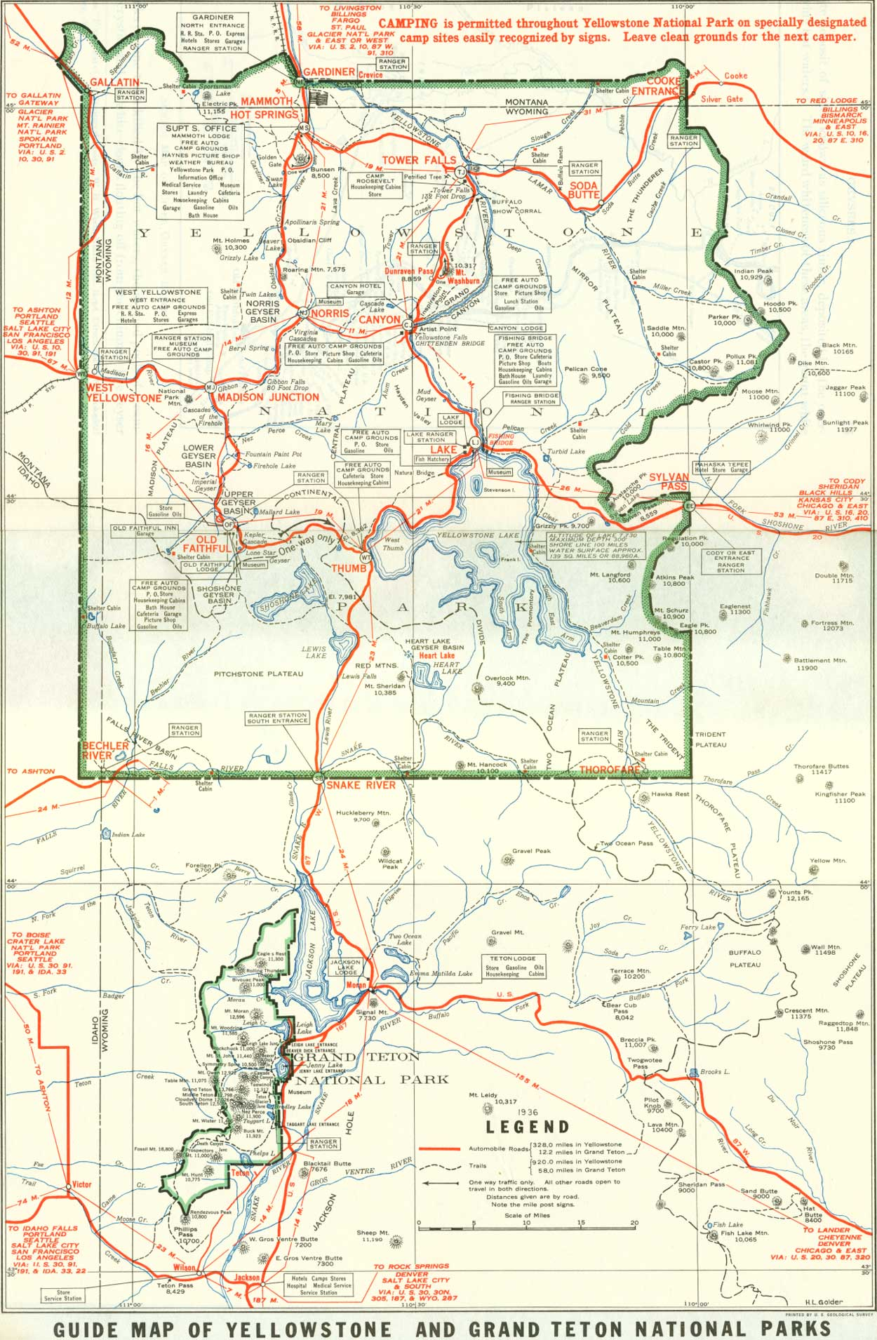 1929 Yellowstone and Grand Teton National Parks Map   Yellowstone