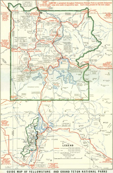 1929 Yellowstone and Grand Teton National Parks Map - Yellowstone ...