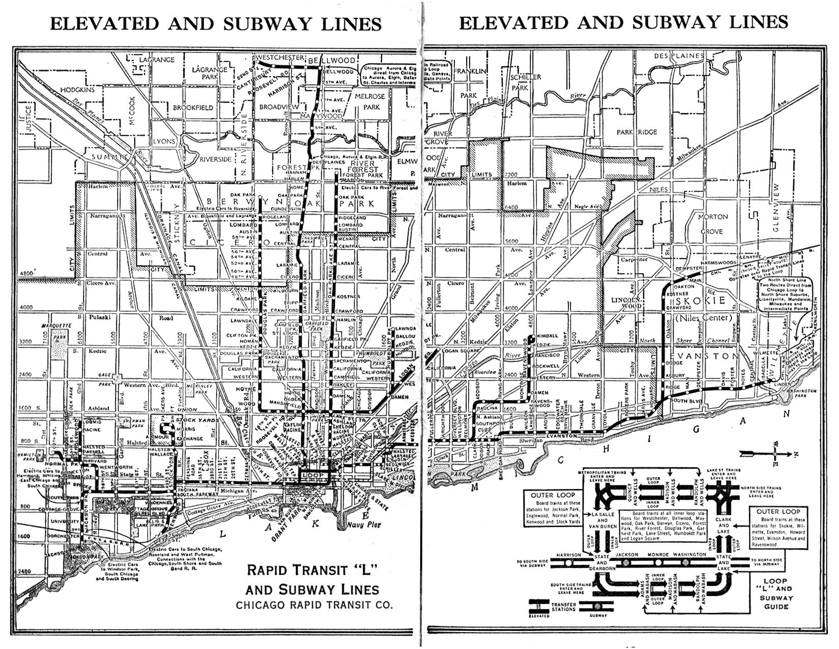 1944 Chicago L Elevated Train Map - Chicago IL US • mappery on