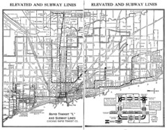 "1944 Chicago ""L"" Elevated Train Map"