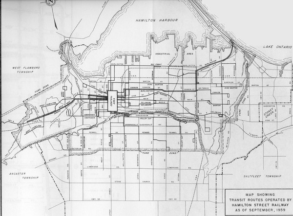 1959 Transit Routes of Hamilton Harbor Map