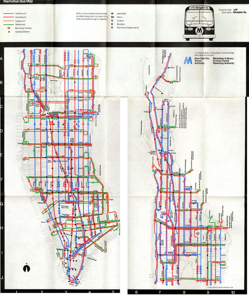 1974 Manhattan Bus Map