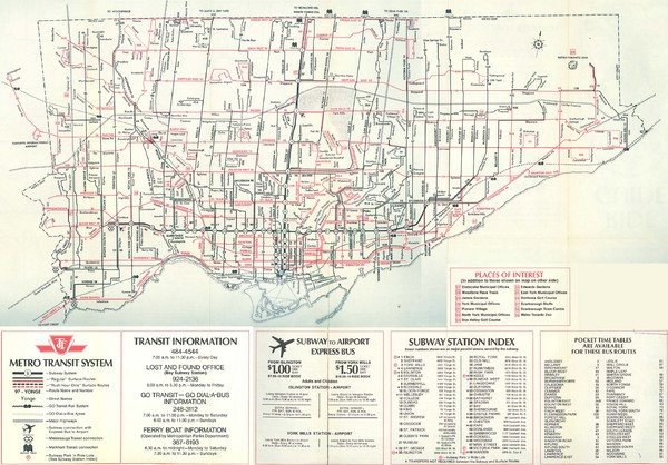 1976 Toronto City Map Toronto Ontario Canada Mappery