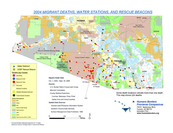 2004 Migrant Deaths, Water Station and Resue Beacons Map