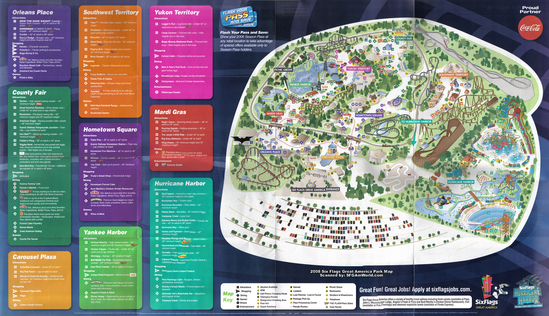 2008 Six Flags Great America Theme Park Map Gurnee IL mappery