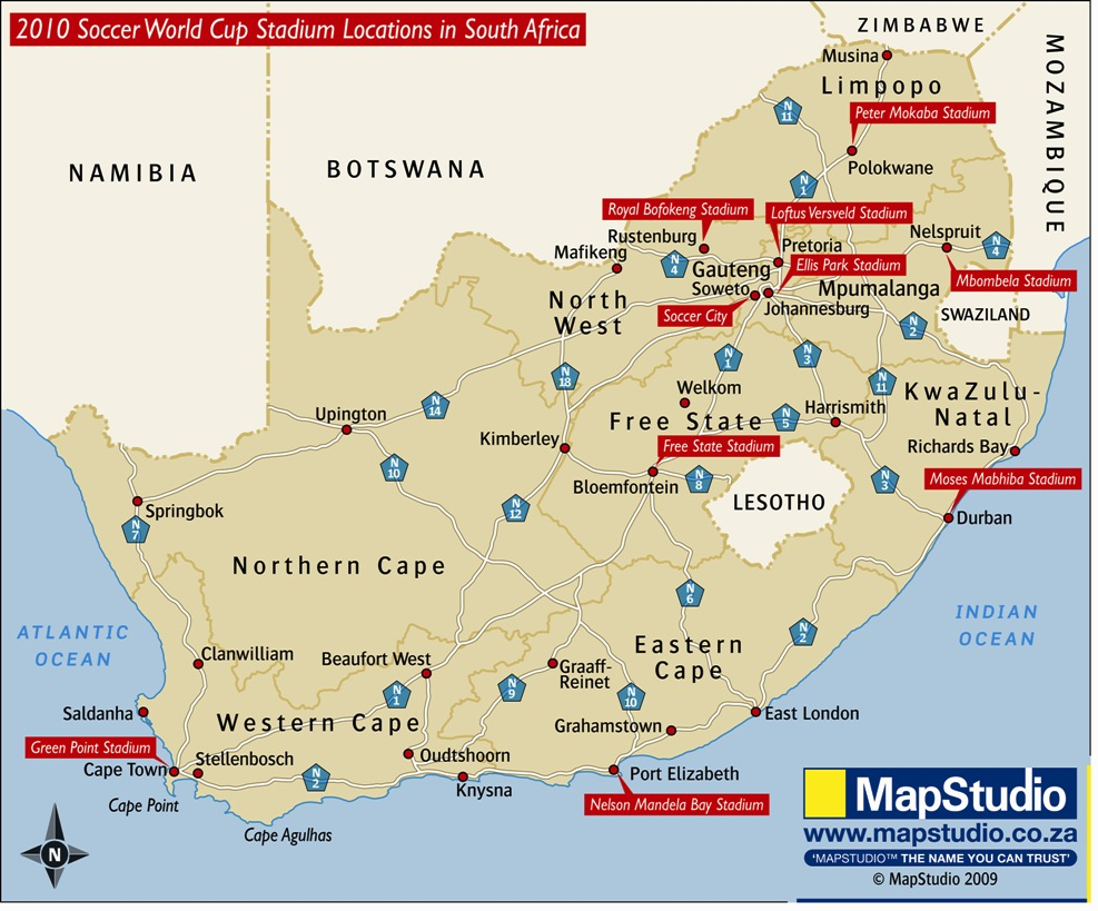 2010 Soccer World Cup Stadiums Location in South Africa Map