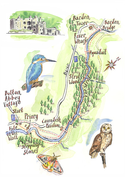 A walk around Bolton Abbey Yorkshire Map bolton abbey yorkshire uk