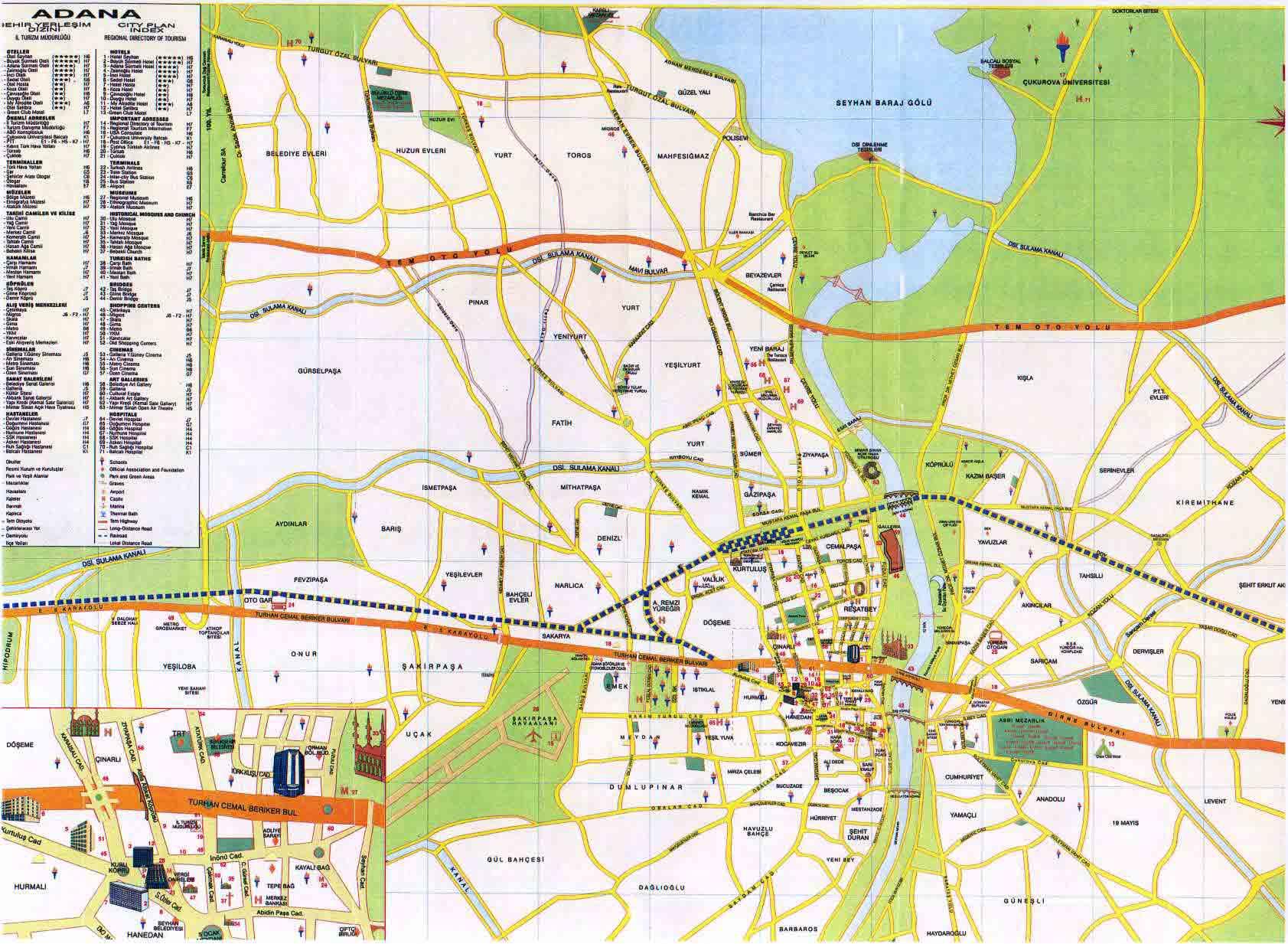 Adana City Map Adana Turkey mappery