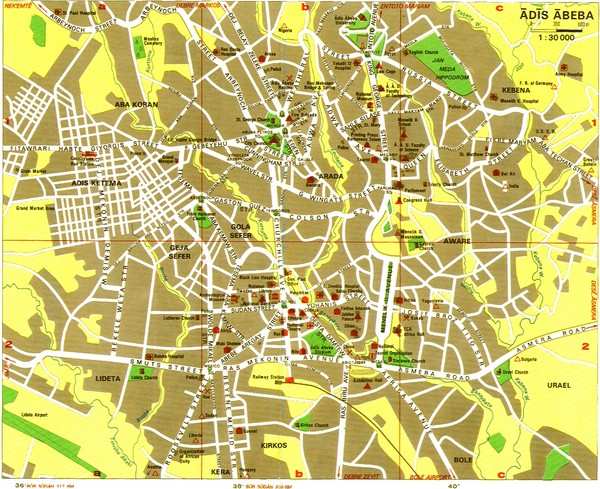 Addis Ababa Tourist Map