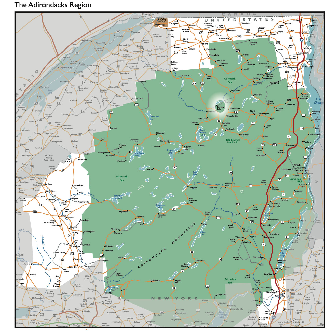 Adirondack Mountains Map