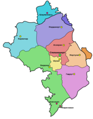 Administrative Map of Nagorny Karabakh (Artsakh)