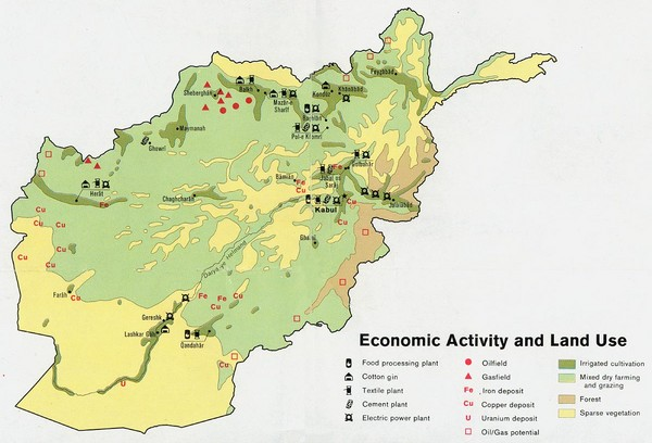 Afghanistan Economic and Land Use Tourist Map