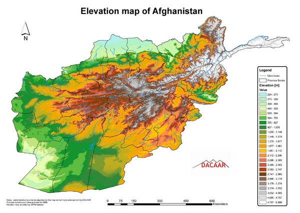 Afghanistan Elevation Map
