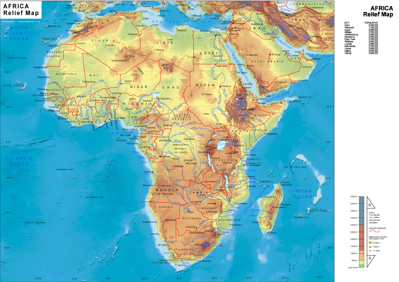 Africa Physical Map - Africa • mappery