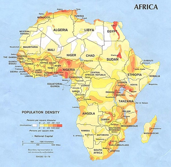 Africa Population Map Africa Mappery - Maps of africa