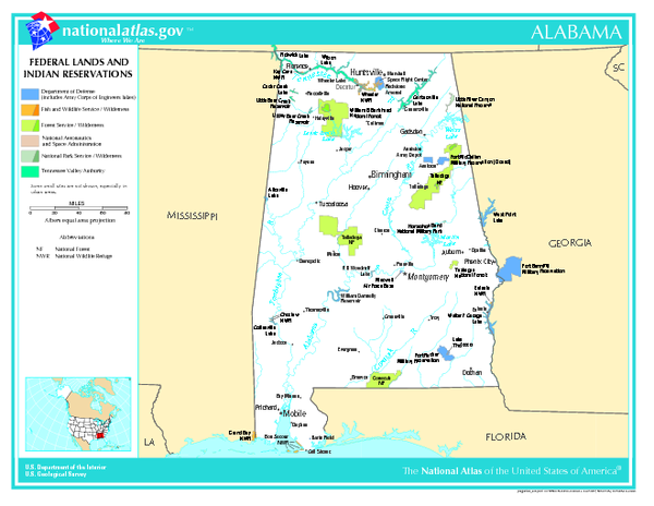 Alabama Federal Lands and Indian Reservations Map