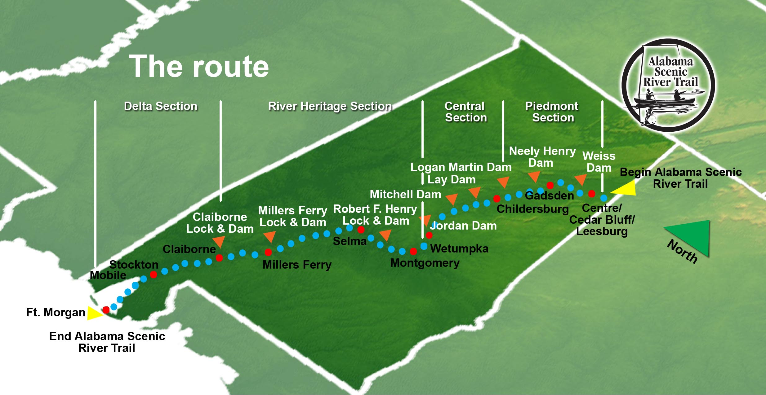 Alabama Scenic River Trail Map Alabama Mappery