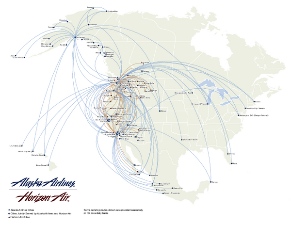 Alaska Airlines Route Map - Eston Canada • mappery