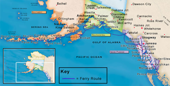 Alaska Ferry Routes Map Alaska mappery