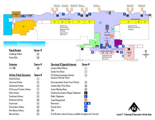 Albuquerque International Sunport Airport Map - 2200 Sunport Blvd SE ...