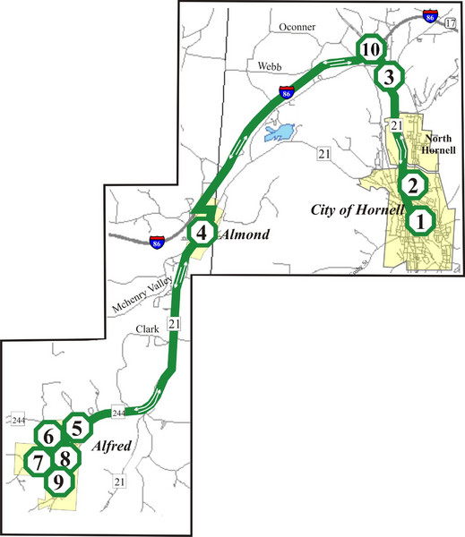Alfred-Hornell Bus Route Map