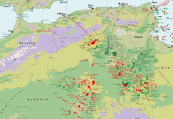 Algeria Hydrocarbon Map Mappery - Algeria map