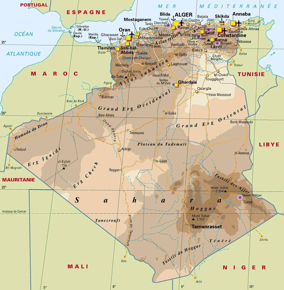 Algeria map see map details from travelportal info